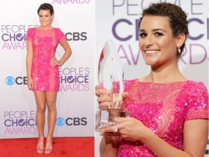 "Lea Michele is seen here in a shockingly bright pink, fun, and flirty mini dress, completely embellished by Ellie Saab. I applaud Michele for making such a drastic choice as this creation also has sheer cutouts from front to back. On glee this season we are noticing how major of a body Michele has, and golf claps to her for showing it off! This isn't my favorite look of the night, but this just shows you how diverse the ""Peoples Choice Awards"" can get."